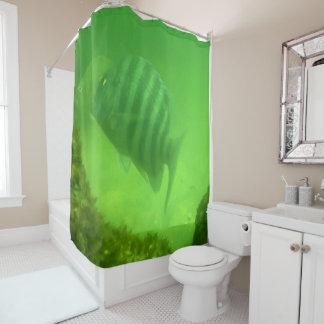 Rideaux De Douche Océan sous-marin de vert de photo de poissons