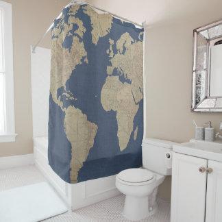 Rideaux De Douche Or et carte bleue du monde