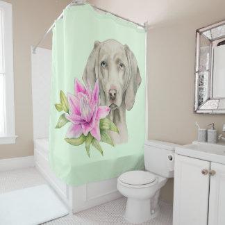 Rideaux De Douche Peinture d'aquarelle de chien et de lis de