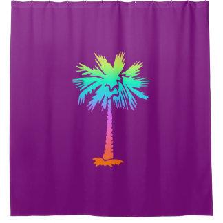 Rideaux De Douche pourpre coloré lumineux d'été tropical au néon de
