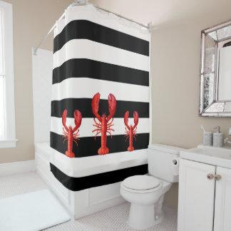 Rideaux De Douche Rayures noires et blanches avec les homards rouges