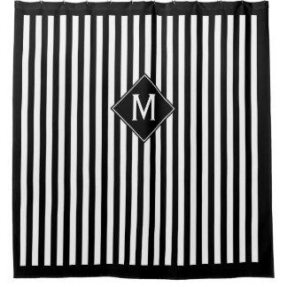 Rideaux De Douche Rayures verticales et monogramme noirs et blancs