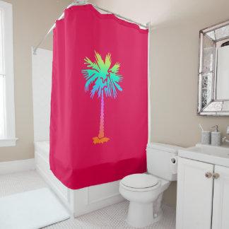 Rideaux De Douche rose coloré lumineux d'été tropical au néon de