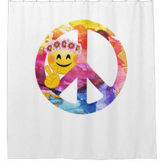 Rideaux De Douche Signe de paix, art hippie d'aquarelle d'émoticône