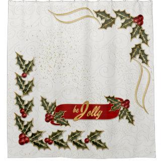 Rideaux De Douche Soyez les branches très rouges et vertes du houx