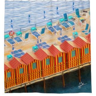 Rideaux De Douche Style orange et bleu chic de plage de cabanes