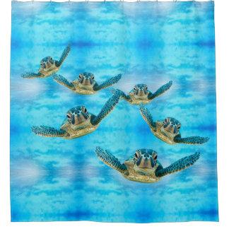 Rideaux De Douche Tortues de mer de bébé nageant