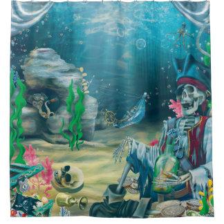 Rideaux De Douche Trésor squelettique de pirate sous la mer