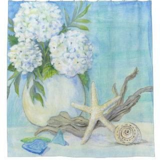 Rideaux De Douche Verre floral de mer des étoiles de mer W de