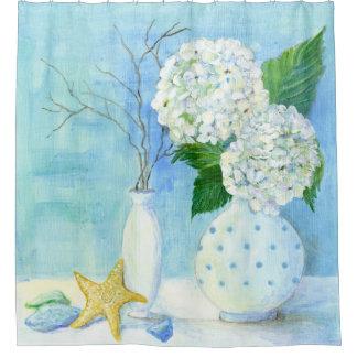Rideaux De Douche Verre floral de mer d'étoiles de mer de cottage