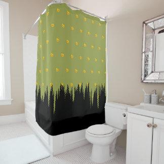 Rideaux De Douche Vert noir floral jaune Morphed d'accent d'herbe