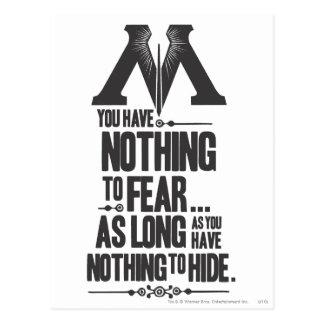 Rien à ne craindre - rien à se cacher carte postale