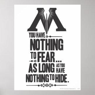 Rien à ne craindre - rien à se cacher poster