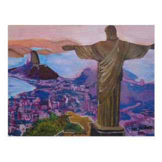 Rio de Janeiro avec le Christ le rédempteur Carte Postale