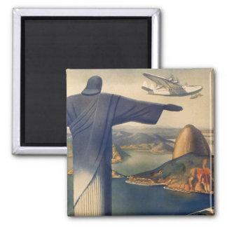 Rio de Janeiro vintage, le Christ la statue de Magnet Carré