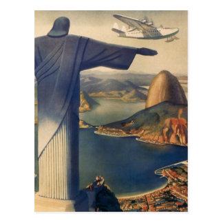 Rio de Janeiro vintage le Christ la statue de réd Carte Postale
