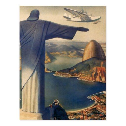 Rio de Janeiro vintage, le Christ la statue de réd Carte Postale