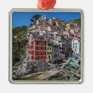 Riomaggiore Cinque Terre Ligurie Italie Ornement Carré Argenté