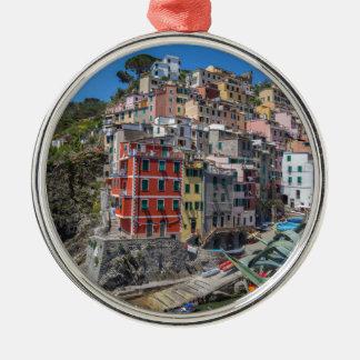 Riomaggiore Cinque Terre Ligurie Italie Ornement Rond Argenté