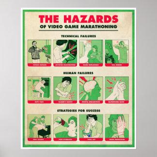 RISQUES d'affiche du JEU VIDÉO MARATHONING Poster