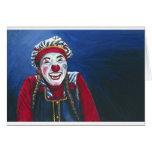Rit nerveusement la peinture de clown cartes de vœux