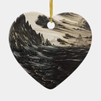 Rivage volcanique ornement cœur en céramique