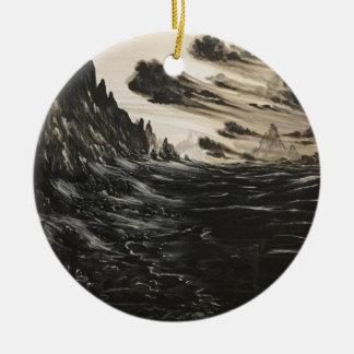 Rivage volcanique ornement rond en céramique