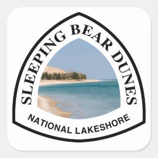 Rive d'un lac de ressortissant de dunes d'ours de sticker carré