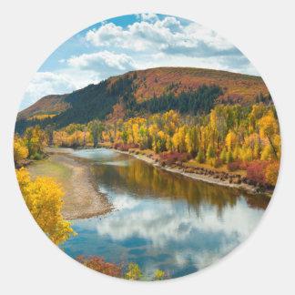 Rivière de Yampa en automne Sticker Rond