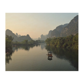 Rivière en Chine Impression Sur Bois