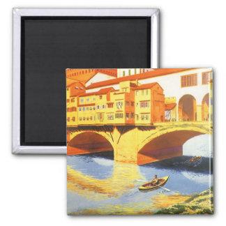 Rivière vintage de pont de Florence Firenze Italie Magnets Pour Réfrigérateur