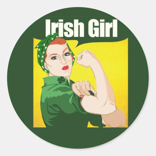 Rivoir vintage de Rosie de fille irlandaise Adhésifs Ronds