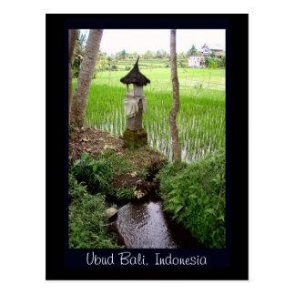 Rizière, temple, Ubud Bali, Indonésie Carte Postale