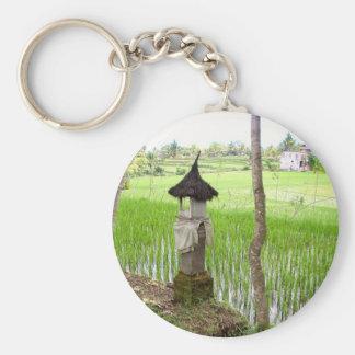 Rizière, temple, Ubud Bali, Indonésie Porte-clé Rond