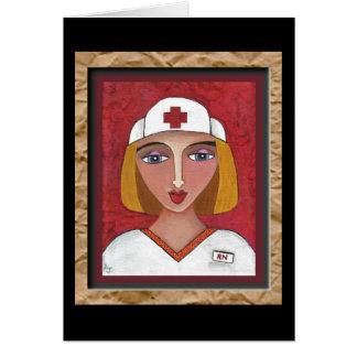 RN blond - carte de voeux d'infirmière d'art