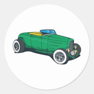 Roadster de hot rod (vert) sticker rond
