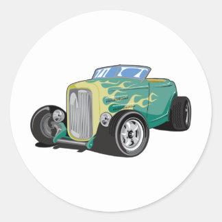 Roadster flambé sticker rond