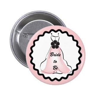 Robe de mariage avec le bouton rose badge rond 5 cm