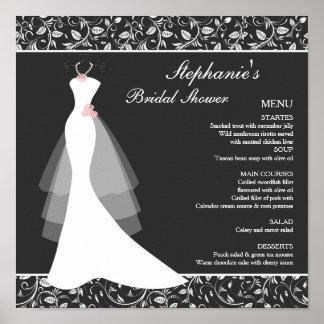 Robe de mariage blanche noire, menu de damassé posters