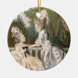 Robe de matin des dames, 1771 (gravure de couleur) ornement rond en céramique