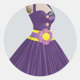 robe de pourpre et de jaune sticker rond