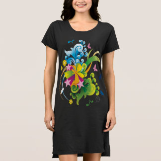Robe de T-shirt de flower power d'été