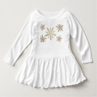 Robe Manches Longues Étoiles d'or sur le blanc