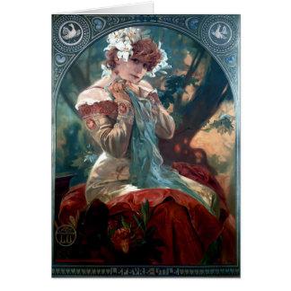 Robe rouge de femme Lefevre-Utile d'art déco de Carte De Vœux