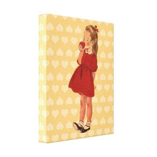 Robe rouge vintage Apple de petite fille Toiles