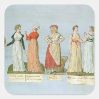 Robes et costumes dans la mode sticker carré