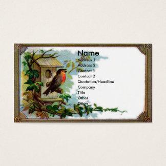 Robin et carte victorienne d'album à volière