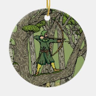 Robin Hood Ornement Rond En Céramique