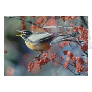 Robin mangeant la baie carte de vœux