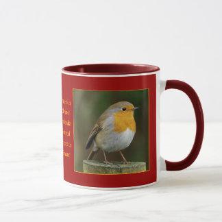 Robin sur la tasse de courrier